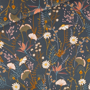 Picture of Flower Field - M - Katoen Gabardine Twill - Nachtblauw